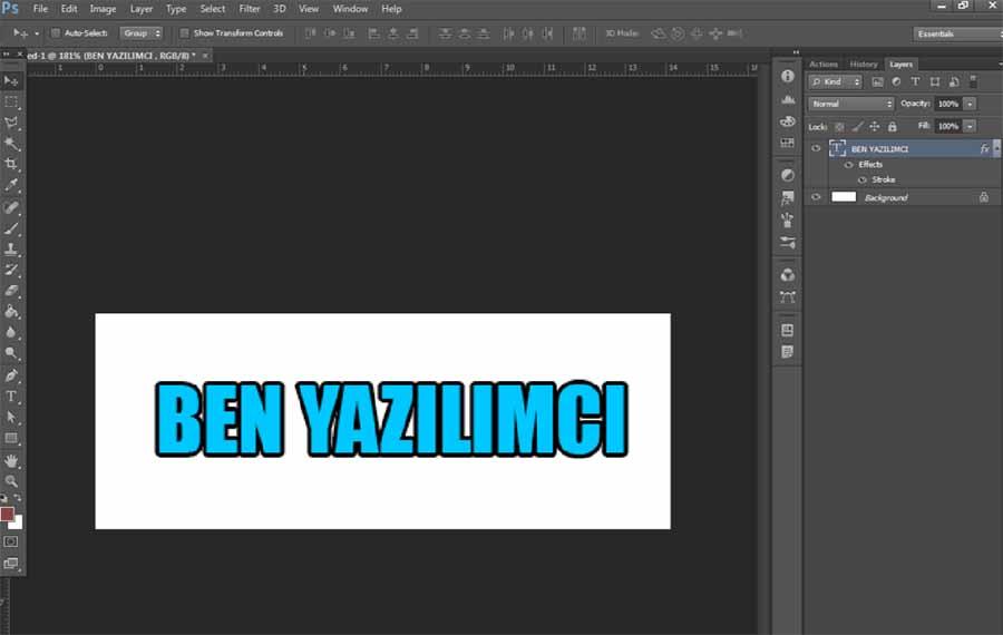 Photoshop İle 3D Yazı Yazma