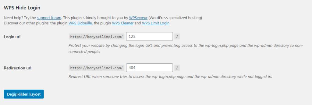 WordpressAdminPaneliAdresiDeğiştirme